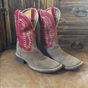 Tony Lama Rough out square toe Cowboy Boots